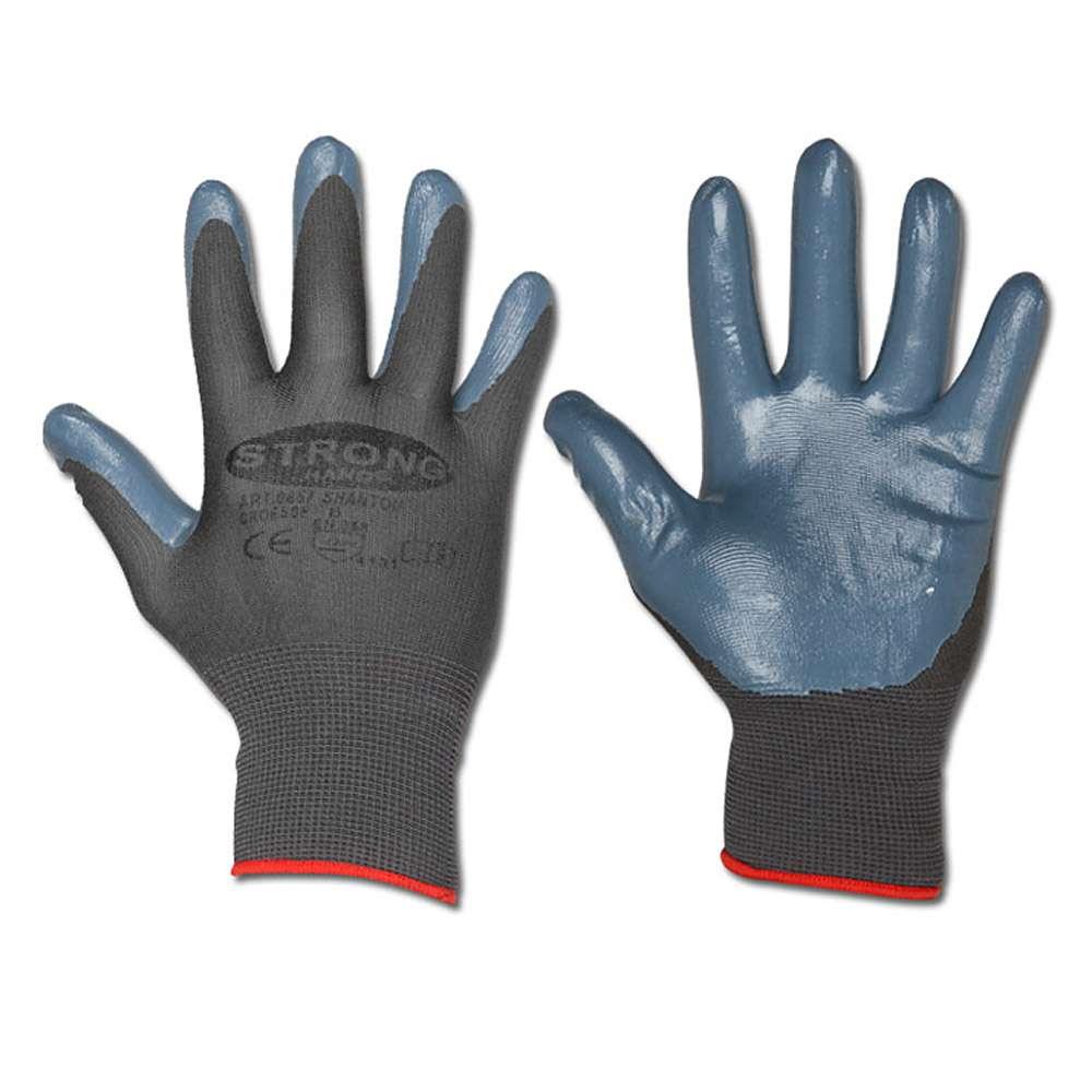 """Arbeitshandschuh """"SHANTOU"""" - Feinstrick Polyester mit Nitrilbeschichtung - Farbe schwarz - Norm: EN 388 / Klasse 4131"""