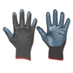 "Work Gloves ""SHANTOU"" - Fine Knitted  Polyamide Nitrile Coating - Grey Color - N"