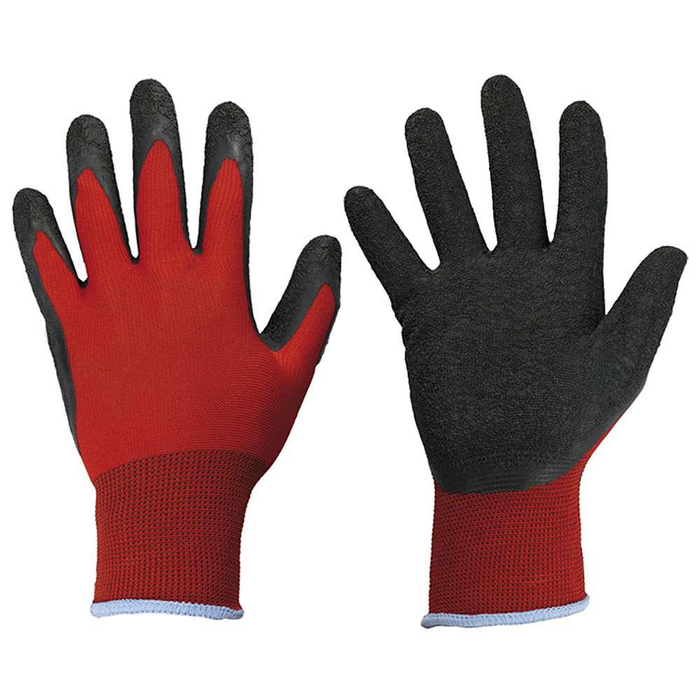 """Arbeitshandschuhe """"BLACKGRIP""""- Polyester - Farbe rot - EN 388 / Klasse 3121"""