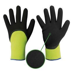 "Strong Hand®  Latex-Handschuh ""NANSEN"" - Mittelstrick - Polyacryl-Frottee - gelb/schwarz - EN 388, EN 511"