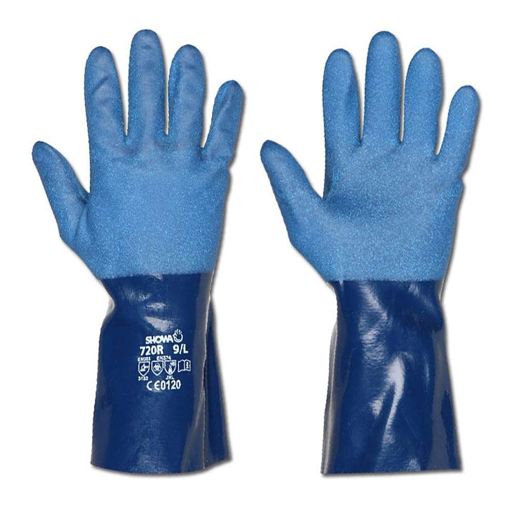 """Schutzhandschuh """"Showa 720"""" - Nitril, blau - Vollbeschichtung"""
