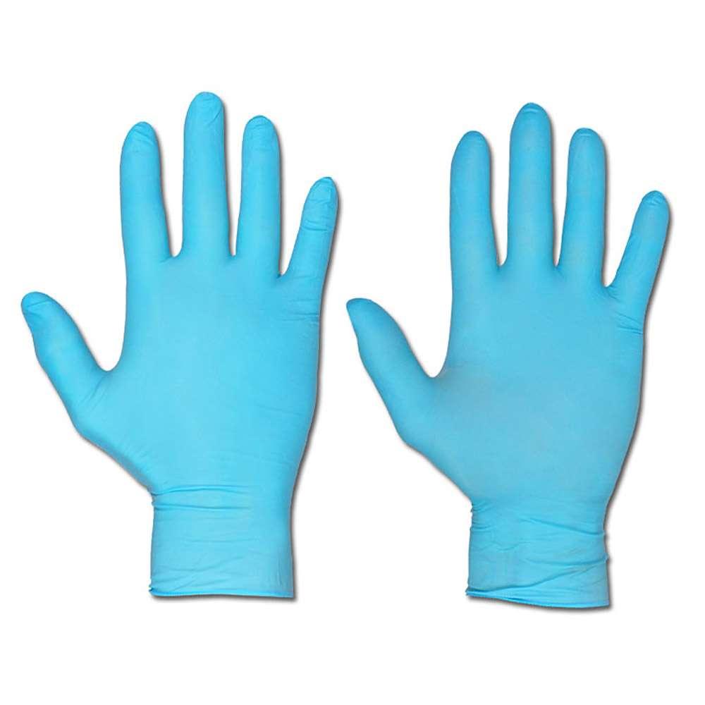 Engångshandskar - opudrade - tål kemikalier - blå
