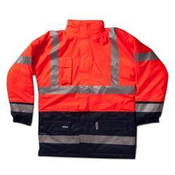 Warnschutzjacke - gefüttert - reißfest - Warnschutzklasse 3 - S bis 4XL - Orange/Marine