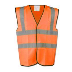 Restposten - Warnschutzweste - Gr. XXXL (66/68) - orange - EN471/2 - 100 % PES - 89/686/EEC - 2 horizontale und vertikale Reflexstreifen