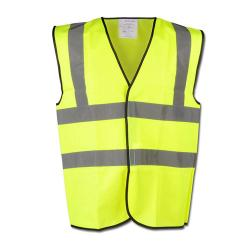 Remaining stock - High visibility vest - Size XXXXL (70/72) - Yellow - EN471 / 2 - 100% PES - 89/686 / EEC - 2 horizontal and vertical reflective strips\n
