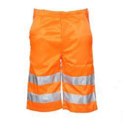 """Restposten - """"PETER"""" - Warnschutz Shorts - Mischgewebe - Größe 60 - fluoreszierend orange"""