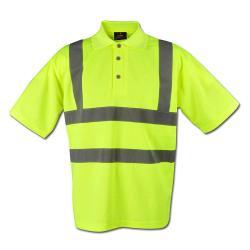 Restposten - Shirt Sicherheit Polo - Gr. L (41/42) - gelb - 100% PES - gestrickter/verstärkter Kragen - Reflexstreifen (5 cm) um Oberkörper und Schulter