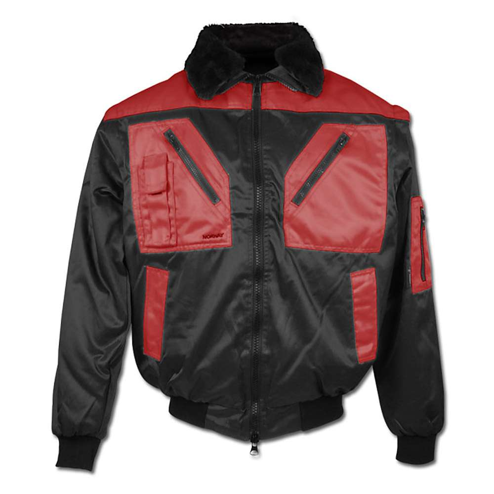 "Pilot Jacket ""Levanger"" - 60% Cotton/40% Polyester - Black/Red"