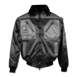 "Remaining Stock - Pilot Jacket - Gr. L (54-56) - black / gray - 60% CO - 40% PES - water, oil and dirt repellent - sleeves and inner lining detachable - ""ELVERUM"""