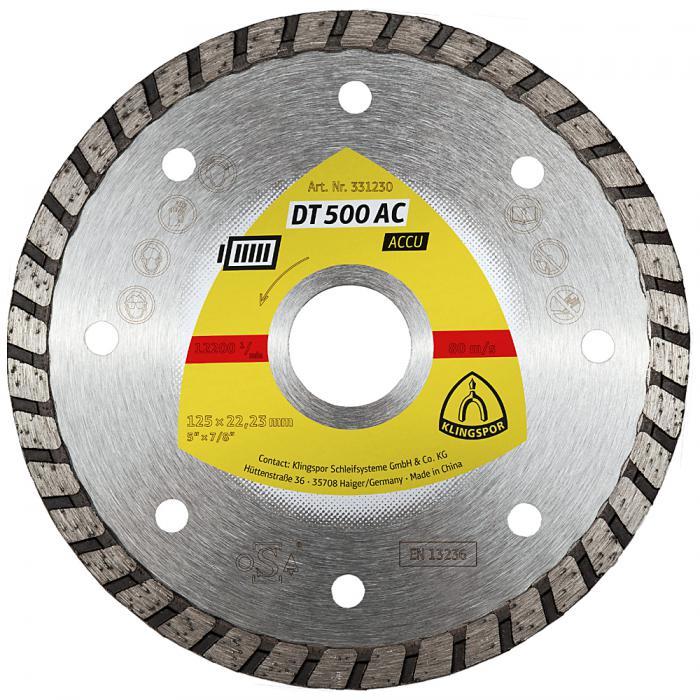 Diamanttrennscheibe DT 500 AC - Durchmesser 115 bis 125 mm - Bohrung 22,23 mm - gesintert - Turboverzahnung