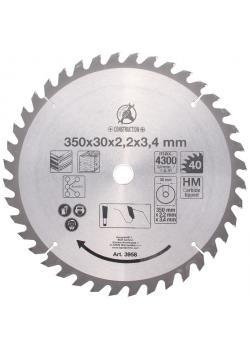 Kreissägeblatt - Hartmetall - Ø 350 mm - 40 Zähne - Bohrung Ø 30 mm