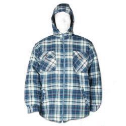 Termoskjorta - med huva - 100% bomull - storlek S - blårutig