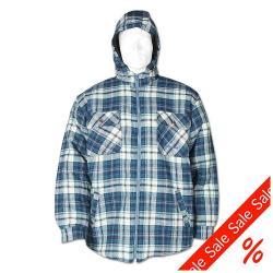 Termoskjorta - med huva - 100% bomull - storlek XXXL - blårutig