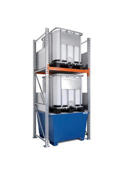 Combi-Regal Typ 3 K2-I - mit Auffangwanne verzinkt oder lackiert - für 2 IBC à 1000 Liter