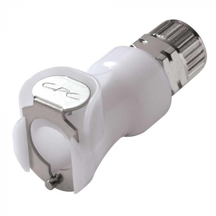 CPC Kupplung - NW 6,4 mm - POM - Mutterteile - mit Ventil - Schlauchkupplung mit Schlauchverschraubung - verschiedene Ausführungen