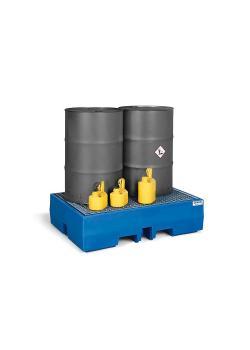 Vassoio di raccolta PolySafe ECO - polietilene - volume di raccolta 245 o 270 l - con griglia zincata - per barili da 1 o 2 200 litri
