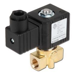 """Électrovanne 2/2 - normalement fermée - pour air comprimé, eau, huile, essence, gazoil - 18 bar - G1/4"""" - 12V DC"""