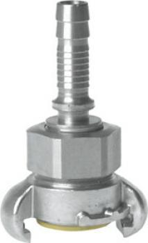 Slangkoppling med räfflad mutter - rostfritt stål