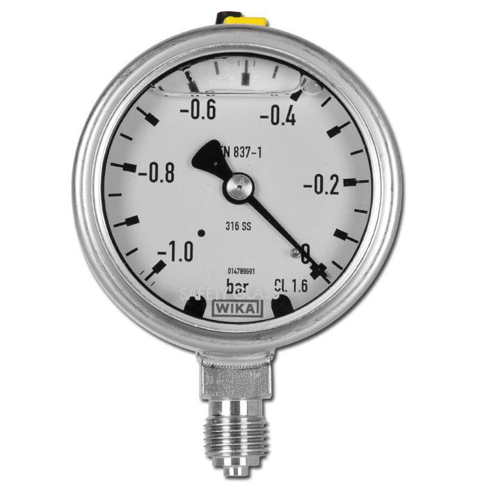 "Glycerin-Manometer - Klasse 1,6 - Ø 63 mm- von -1 bar bis 1000 bar - G 1/4"" B - senkrecht"