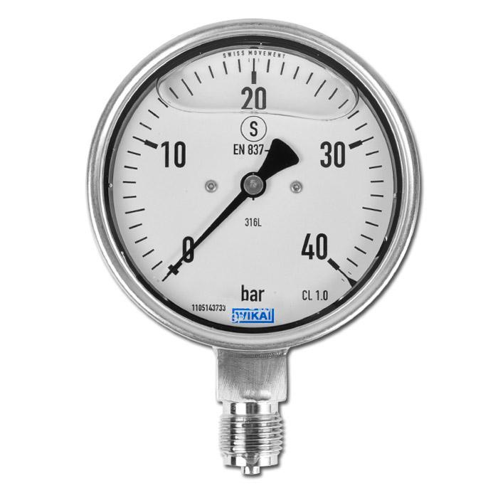 "Glycerin-Manometer - Klasse 1,0 -  Ø 100 mm von -1 bar bis 1000 bar - senkrecht - G 1/2"" B"
