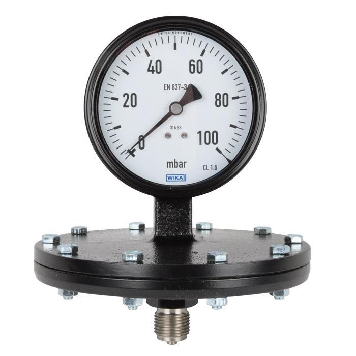 Plattenfedermanometer Klasse 1.6 - Ø100mm - bis 400mbar - Stahl - Abgang unten -