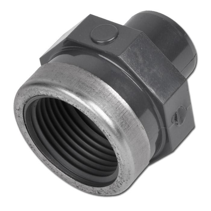 """Klebe-Übergangsmuffennippel - PVC-U - Außen-Ø 20 bis 75 mm - Innengewinde Rp 1/2"""" bis Rp 2"""" -  PN 16"""