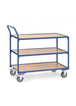 Table trolley - Capacity 250 kg - high standing handle - with 3 floors
