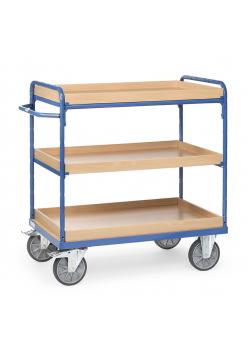 Shelved trolley - with 3 boxes of wood - up to 600 kg