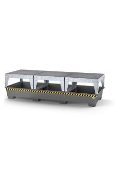 Auffangwanne pro-line - Stahl lackiert oder verzinkt - für 3 IBC - 3 Abfüllböcke