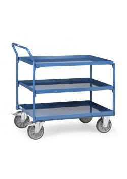 Table trolley - with 3 floors of metal trays - handle high standing