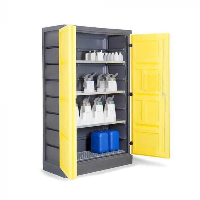Umweltschrank PolyStore - Typ PS 1220-3.1 - Kunststoff - Breite 1225 mm - 3 Auffangwannen - 1 Gitterrost Edelstahl oder verzinkt