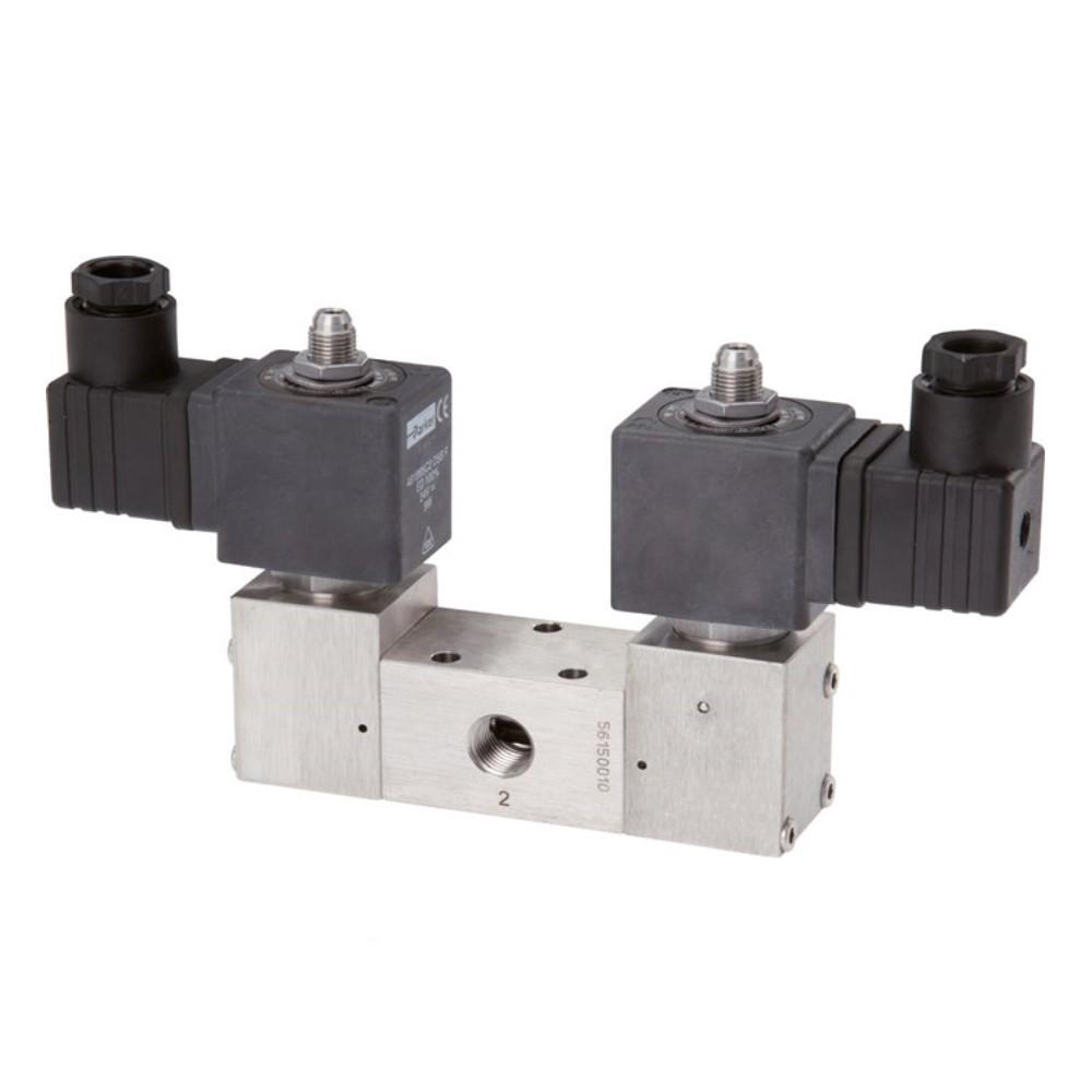 Électrovanne 3/2 ou 5/2 - à impulsion - acier inoxydable - pour air comprimé - de 3,0 à 12 bar