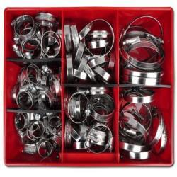 Schneckengewinde-Schlauchschellen Sortiment - Stahl verzinkt - Ø 16-90 mm - 12 mm breit  - 125 teilig - Preis per Set