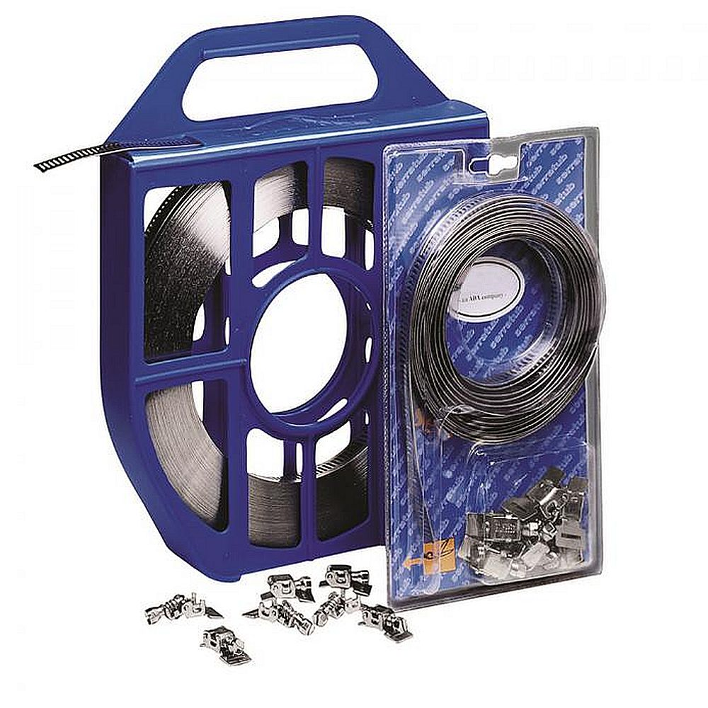 Kit de bande sans fin - bande en acier inoxydable - longueur de 3 ou 5 m - 8 têtes repliables - prix du jeu