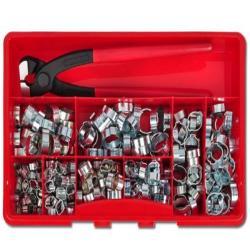 2-Ohr Schlauchklemmen Sortiment - Stahl verzinkt - inkl. Montagezange - 280 Stück - Ø 5,7 bis 20 mm - Preis per Set