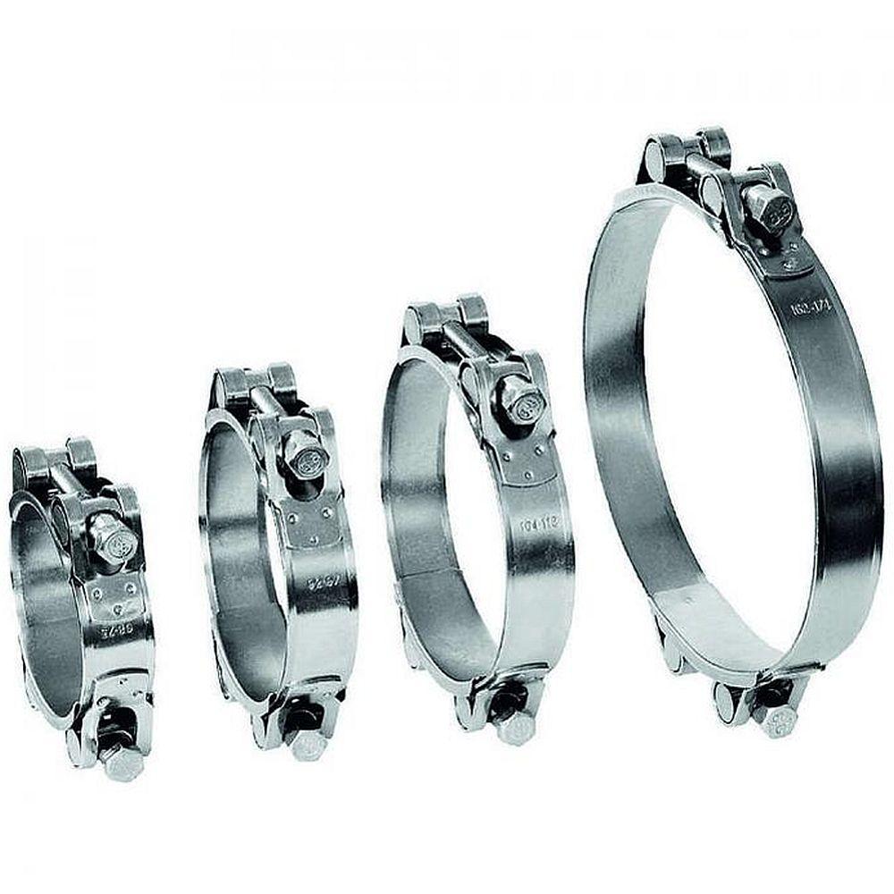 Fäststiftsklämma GEMI GBS 2-delars spännområde Ø 80 till 305 mm - rostfritt stål 1.4401 - bredd 25 mm