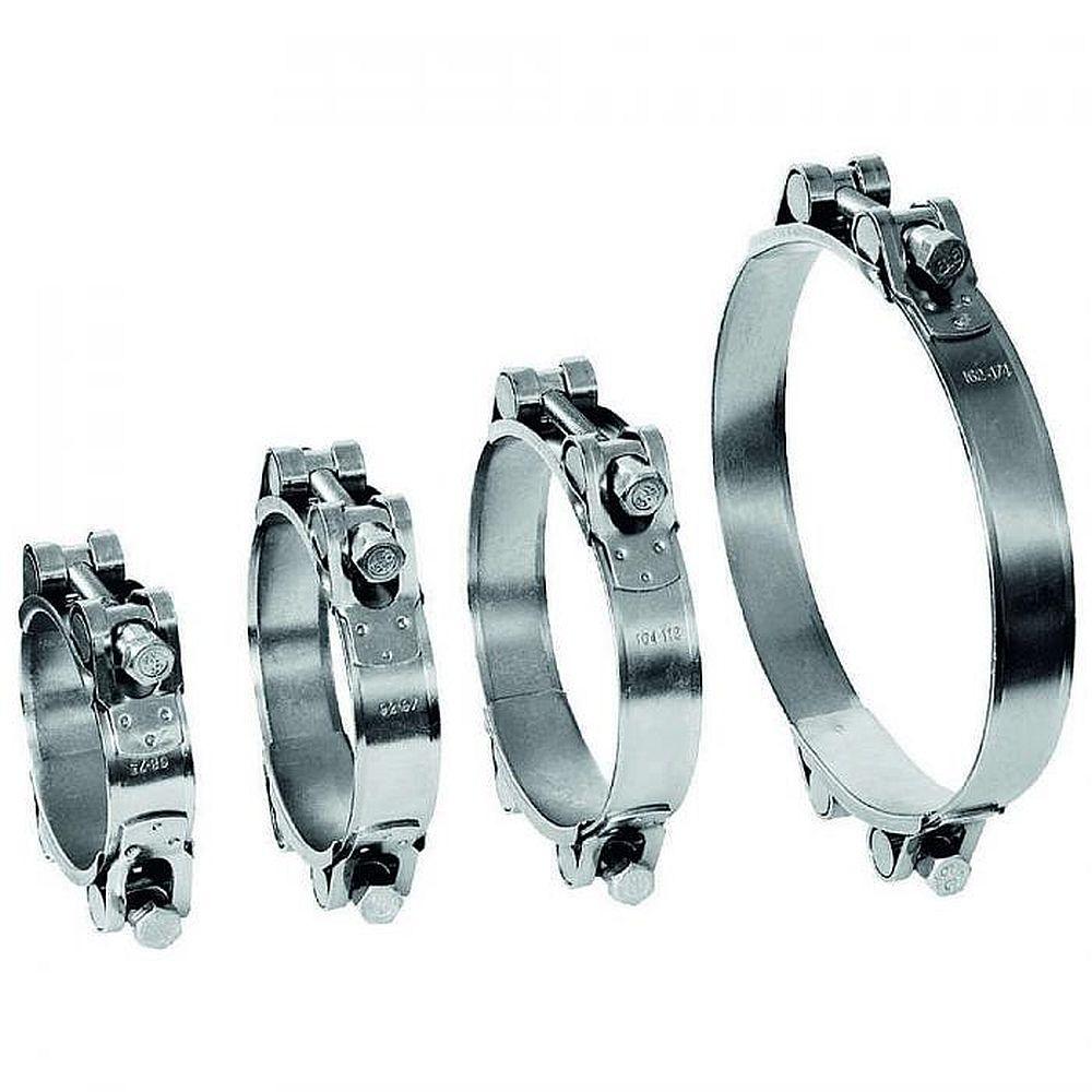 Gemensam skruvklämma GEMI GBS 2-deligt spännområde Ø 80 till 465 mm - rostfritt stål 1.4401 - bredd 30 mm