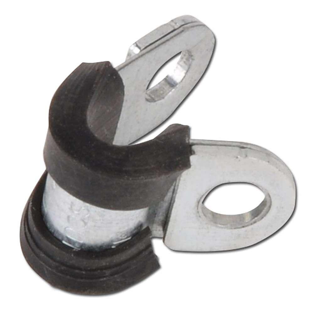 Rohrhalterungsschelle mit Gummi - Stahl verzinkt - Breite 12 mm - Spannbereich-Ø 5 bis 30 mm