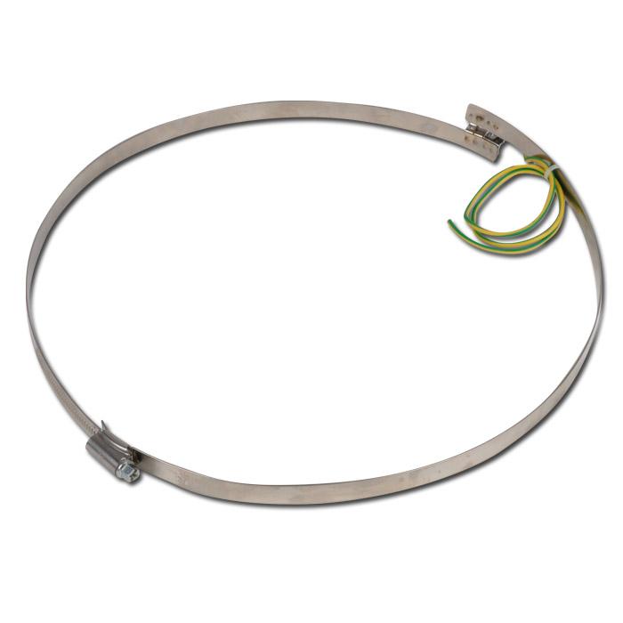 Brückenschelle - mit Erdung - Edelstahl - Breite 12 mm - Spannbereich-Ø 205 bis 535 mm - Preis per Stück