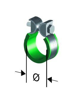 Pince de fixation STOPFLEX - avec manchon caoutchouc - Ø intérieur 11 à 95 mm
