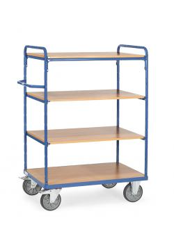Shelved trolley - up to 600 kg - with 5 floors of wood