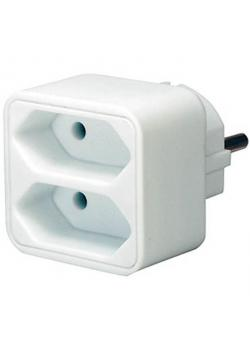 Adapterstecker Euro 2 - weiß - 2 Steckdosen