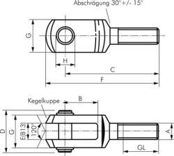 Gabelkopf - Außengewinde - mit Bolzen - Stahl verzinkt - für Kompaktzylinder