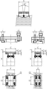 Pendelbrygga för kolvstångslösa cylindrar - smal