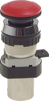 5/2-Wege-Tasterventil M5 für Schalttafeleinbau Ø30,5 mm - Not-Aus-Taste - 25 N
