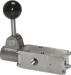 "Hand lever valve - 5/2-way - Spring Return - Stainless Steel - G 1 / 4 ""to 1 / 2"
