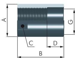 Douille de butée de l'amortisseur ACE - acier bronzé - M6x0, 5 à 25x1, 5 mm