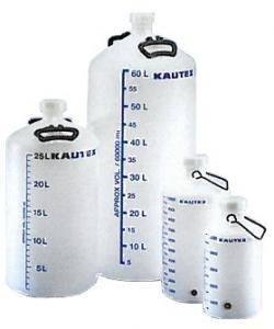 Plastfat - ballong - naturfärgad - liter-skala och skruvlock