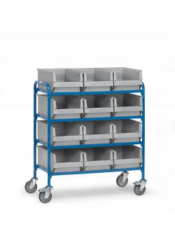 Trolley - 4 shelves made of wood - length 940 mm - with 3x4 fronted storage bins