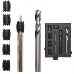 Spot weld drill milling cutter set - in metal box - 10 pieces